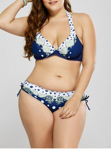 Cheap Plus Size Polka Dot Trim Halter Bikini WHITE 3XL