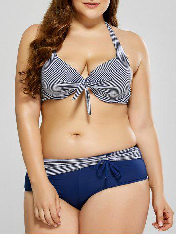 Outfits Plus Size Striped Halter Bikini