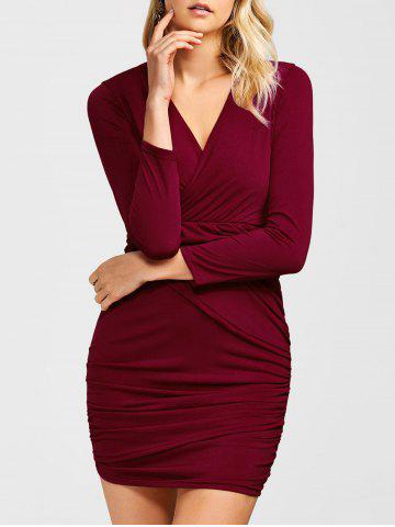 Hot Ruched Surplice Long Sleeve V Neck Mini Party Bodycon Dress WINE RED XL