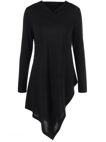 Outfit Hooded Asymmetrical Long Sleeve Tee BLACK M