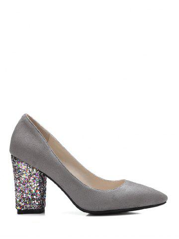 Hot Glitter Sequined Pointed Toe Pumps GRAY 39