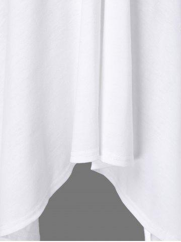 Online Butterfly Sleeve Asymmetrical Plus Size Tee - XL WHITE Mobile