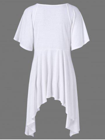 Best Butterfly Sleeve Asymmetrical Plus Size Tee - XL WHITE Mobile