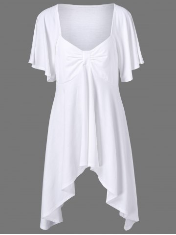 Hot Butterfly Sleeve Asymmetrical Plus Size Tee WHITE XL