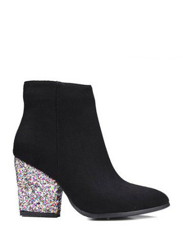 Fashion Zipper Glitter Chunky Heel Ankle Boots