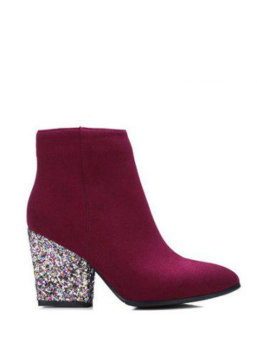 Affordable Zipper Glitter Chunky Heel Ankle Boots BURGUNDY 38