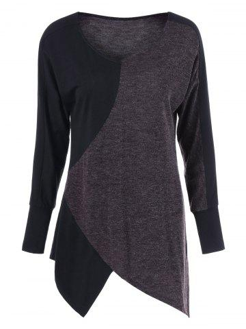 Affordable Two Tone Long Sleeve Asymmetrical Tee