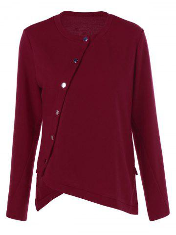 Online Asymmetrical Button Long Sleeve T-Shirt DARK RED M