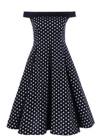 Outfit Off The Shoulder Polka Dot Vintage Dress - XL BLACK Mobile