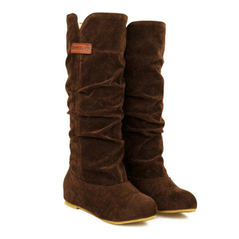 Chic Mid Calf Slouch Boots - 37 BROWN Mobile