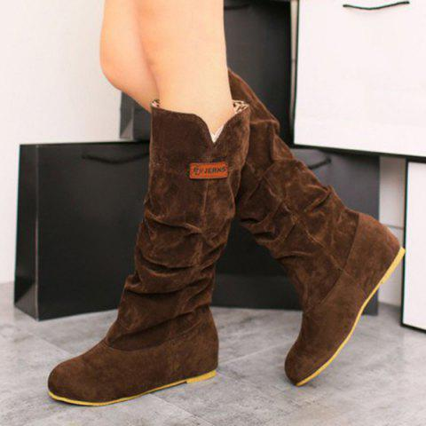 Outfits Mid Calf Slouch Boots - 37 BROWN Mobile