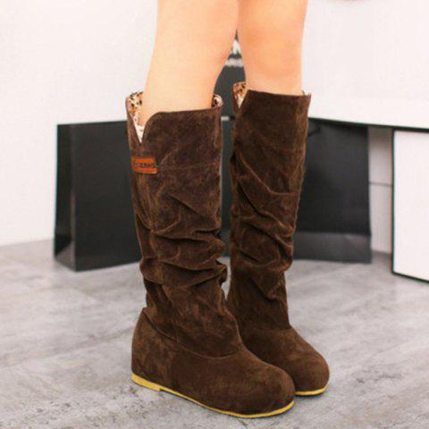 Discount Mid Calf Slouch Boots - 37 BROWN Mobile