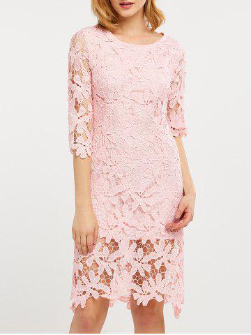 Outfit Hollow Out Lace Knee Length Dress