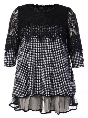 Shop Plus Size Lace Insert Houndstooth Mini Dress