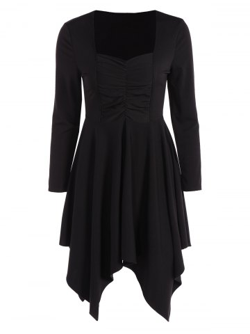 Discount Long Sleeves Ruched Asymmetric Swing Dress BLACK 2XL