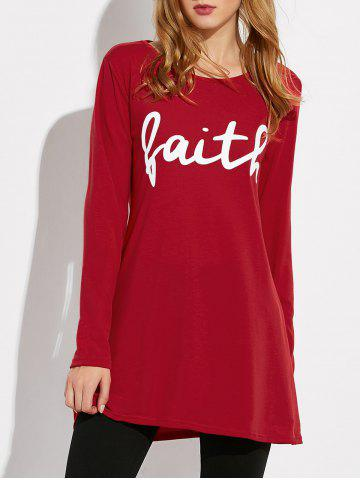 Trendy Long Sleeve Letter Print Loose Tee