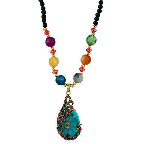 Affordable Waterdrop Rhinestone Inlay Peacock Pendant Beaded Necklace