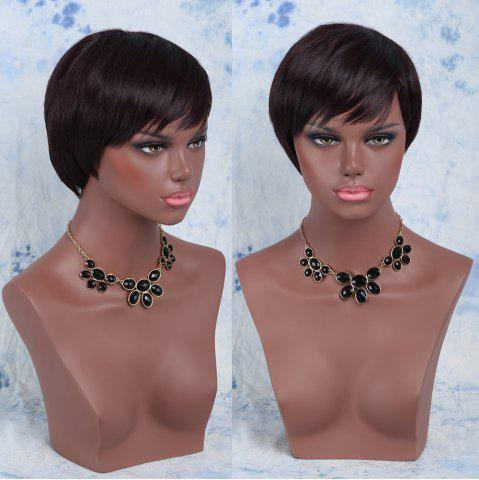 Sale Spiffy Short Synthetic Side Bang Straight Wig DARK RED