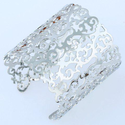 Cheap Chunky Hollowed Filigree Cuff Bracelet - SILVER  Mobile