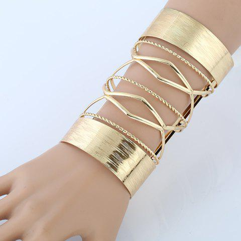 Store Hollow Out Cable Wire Open Cuff Long Bracelet GOLDEN