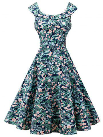 Buy Vintage Sleeveless Floral Print High Waist Dress