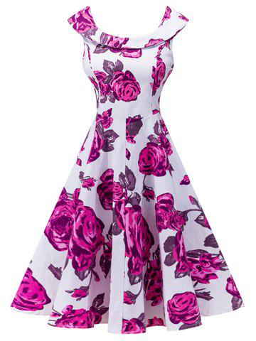 New Retro Floral Print High Waist Dress
