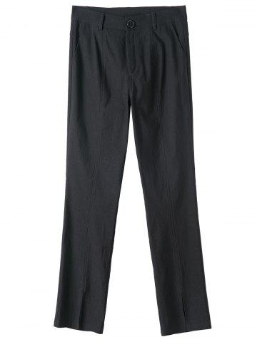 Affordable Plus Size Plain Pants with Pockets BLACK 5XL