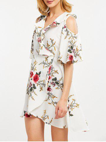 Online Floral Print Flounce Cold Shoulder Dress