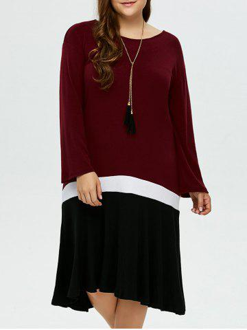 Fashion Plus Size Color Block Long Sleeve Smock Dress BLACK AND WHITE AND RED 4XL