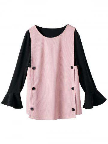 Shops Button Flare Sleeve Plus Size Insert Blouse PINK 5XL