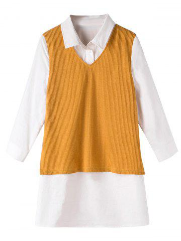 Fancy Knit Ribbed Vest Shirt Fake Twinset Combo GINGER 5XL