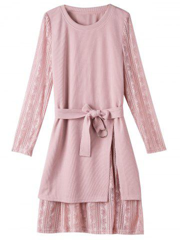 Lace Insert Plus Size Layered Sweater Dress - Pink - Xl