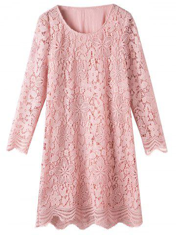 Chic Plus Size Scalloped Lace Long Sleeve Dress PINK XL