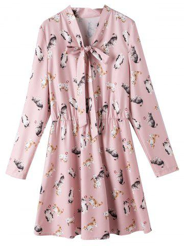 Outfits Bowtie Collar Plus Size Cat Print Dress PINK 4XL