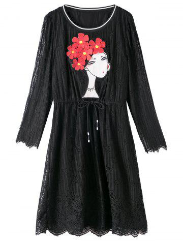 Plus Size Lace Scalloped Dress with Girl Applique - Black - Xl