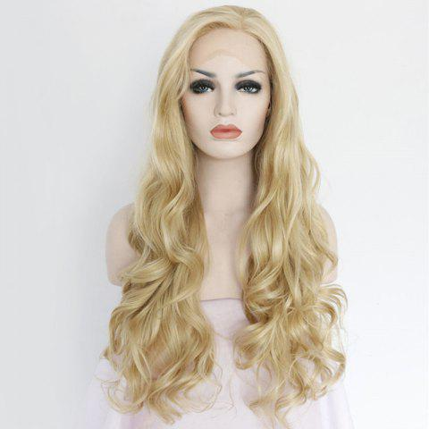 Unique Sparkling Long Side Parting Wavy Lace Front Synthetic Wig - GOLDEN  Mobile