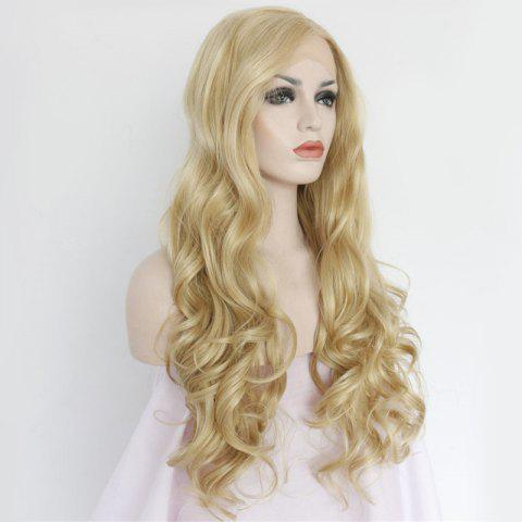 Best Sparkling Long Side Parting Wavy Lace Front Synthetic Wig - GOLDEN  Mobile
