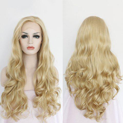 Sparkling Long Side Parting Wavy Lace Front Synthetic Wig - GOLDEN