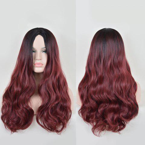 Sale Faddish Long Middle Part Wavy Lace Front Synthetic Wig