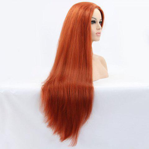 Buy Faddish Long Straight Lace Front Synthetic Wig - ORANGE  Mobile
