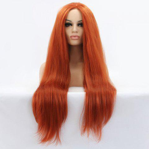 Trendy Faddish Long Straight Lace Front Synthetic Wig - ORANGE  Mobile