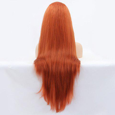 Unique Faddish Long Straight Lace Front Synthetic Wig - ORANGE  Mobile