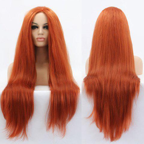 Chic Faddish Long Straight Lace Front Synthetic Wig - ORANGE  Mobile
