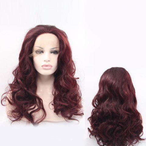 New Long Wavy Fascinating Lace Front Synthetic Wig - BURGUNDY  Mobile