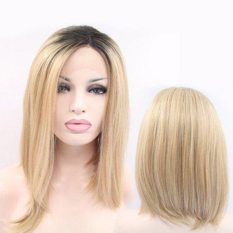 Unique Medium Side Parting Asymmetric Straight Lace Front Synthetic Wig - COLORMIX  Mobile
