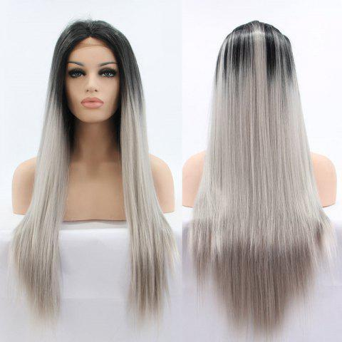 Best Faddish Long Straight Ombre Color Lace Front Synthetic Wig