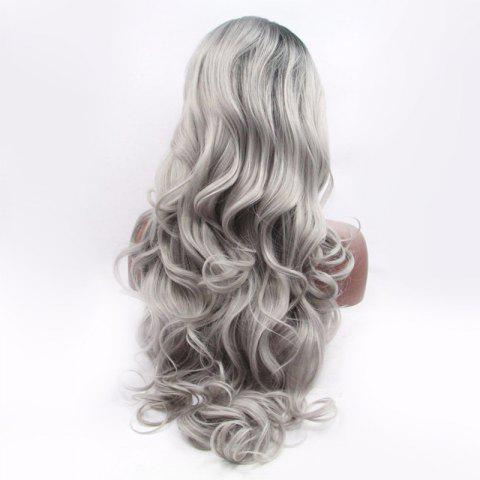 Store Fascinating Double Color Long Side Parting Wavy Lace Front Synthetic Wig - BLACK AND GREY  Mobile