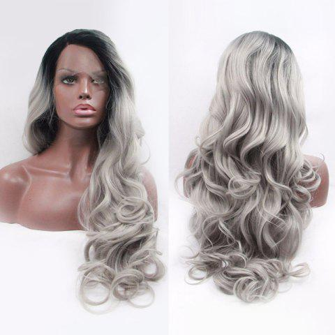 Discount Fascinating Double Color Long Side Parting Wavy Lace Front Synthetic Wig - BLACK AND GREY  Mobile