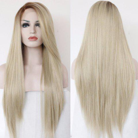 Affordable Faddish Long Side Parting Straight Lace Front Synthetic Wig
