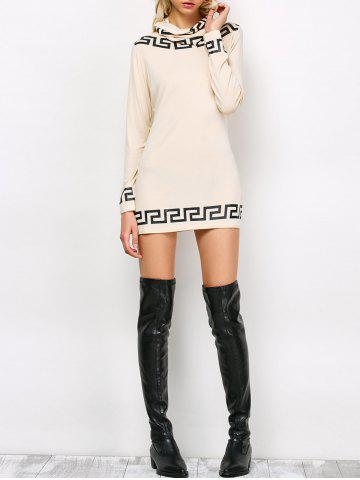 Online Long Sleeve Mini Printed Dress With Scarf